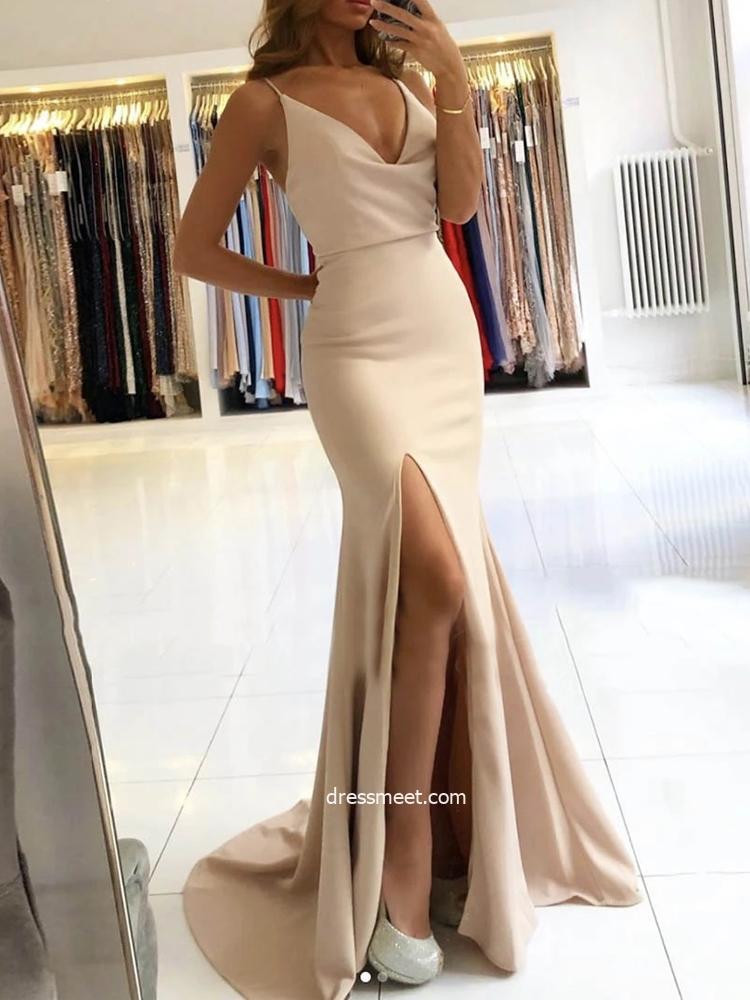 Charming Elegant Mermaid V Neck Straps Light Champagne Split Evening Dresses