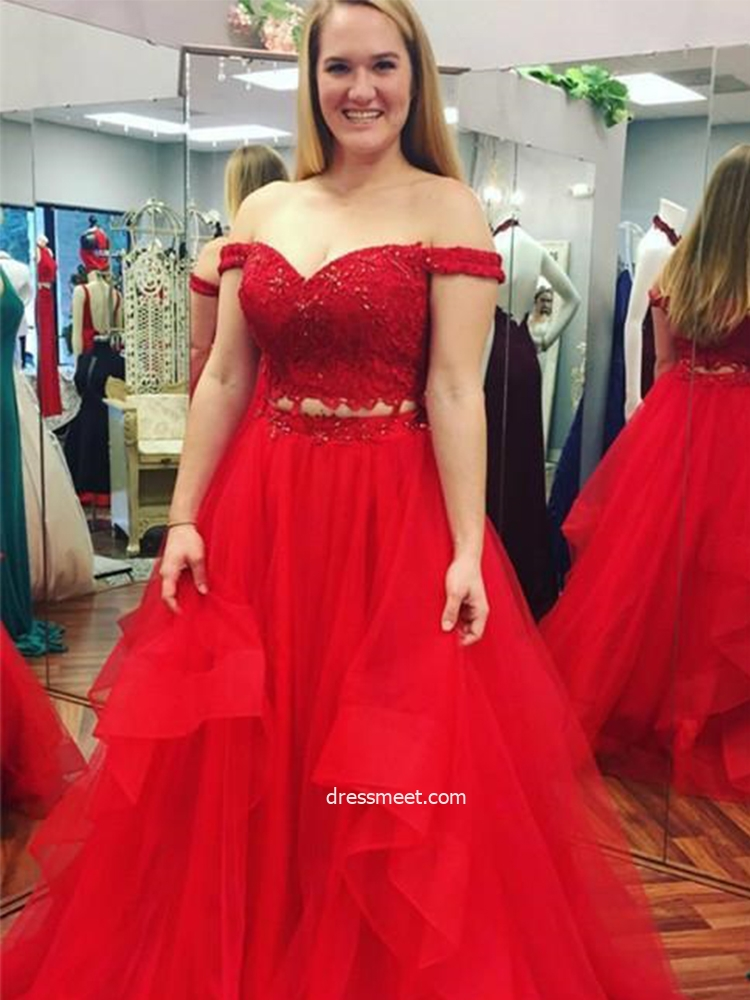Plus Size Two Piece Off the Shoulder Red Tulle Prom Dresses with Appliques
