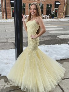 Cute Mermaid Scoop Neck Straps Daffodil Tulle Lace Prom Dresses