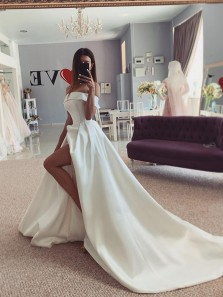 Elegant Off the Shoulder White Satin Wedding Dresses, Bridal Gowns