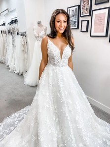 Ball Gown Deep V Neck Straps Lace Wedding Dresses