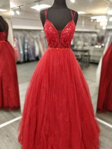 Cute Ball Gown V Neck Straps Red Tulle Beading Prom Dresses, Sweet 16 Dresses