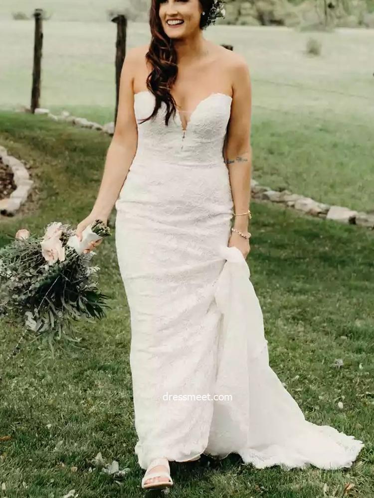 Chic Elegant Mermaid Sweetheart Lace Wedding Dresses, Bridal Dresses