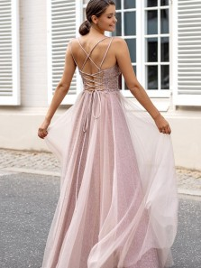 Charming A Line V Neck Spaghetti Straps Blush Pink Long Prom Dresses with Beading