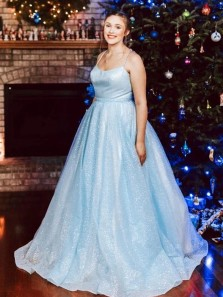 Glitter Ball Gown Scoop Spaghetti Straps Light Blue Long Prom Dresses, Sweet 16 Dresses