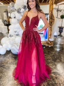 Cute A Line V Neck Straps Dark Red Split Prom Dresses with Appliques