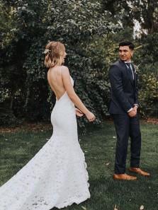 Elegant Mermaid V Neck Spaghetti Straps Lace Wedding Dresses for Bridal, Beach Wedding Dress