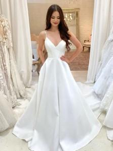 Simple Ball Gown V Neck Spaghetti Straps White Satin Wedding Dresses with Pockets