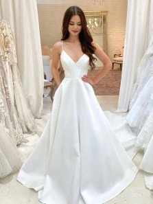 Simple Ball Gown V Neck Spaghetti Straps White Satin Wedding Dresses with Pockets