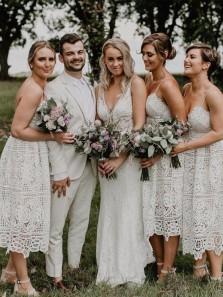Boho Elegant V Neck Spaghetti Straps White Lace Tea Length Bridesmaid Dresses