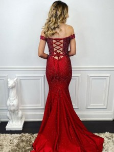 Charming Two Piece Mermaid off the Shoulder Cross Back Dark Red Beading Prom Dresses