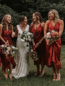 Bohemian Sheath V Neck Spaghetti Straps Dark Orange Satin Tea Length Bridesmaid Dress for Spring Wedding