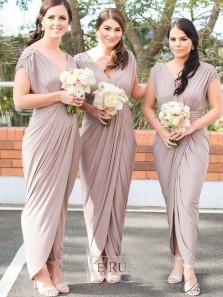 Elegant Sheath V Neck Blush Elastic Spandex Long Bridesmaid Dresses with Split