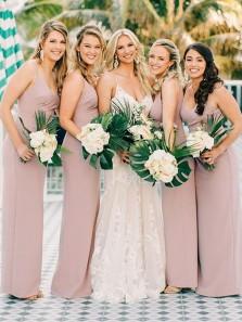 Elegant Sheath V Neck Spaghetti Straps Blush Pink Chiffon Long Bridesmaid Dresses Under 100