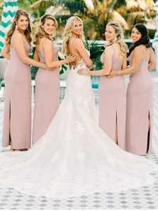 Elegant Sheath V Neck Spaghetti Straps Blush Pink Chiffon Long Bridesmaid Dresses Under 100