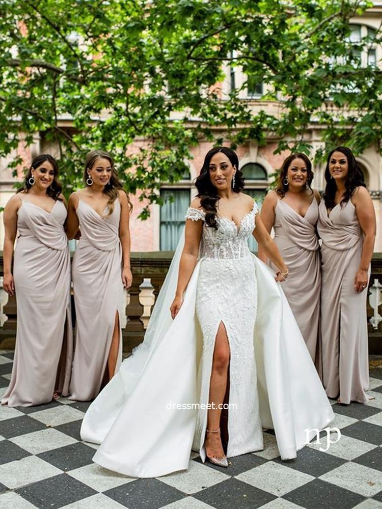 Sheath V Neck Spaghetti Straps Light Blush Split Bridesmaid Dresses