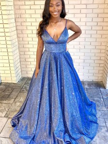 2021 Holographic Glitter Gown V Neck Royal Blue Sparkly Satin Prom Gowns