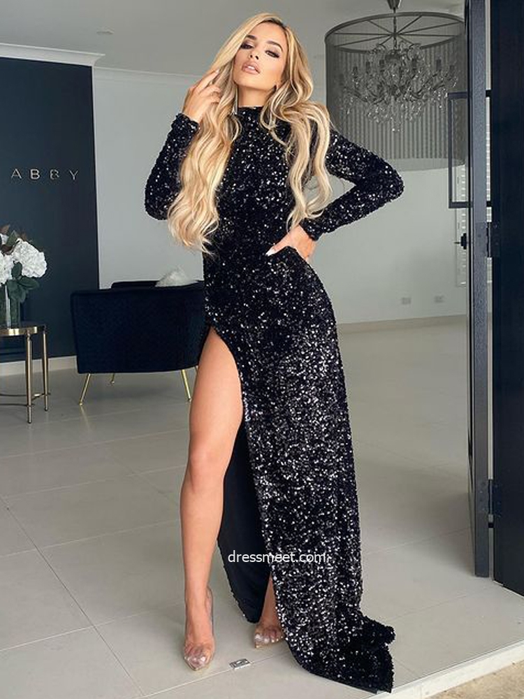 Sparkly Sheath Long Sleeves Round Neck Black Sequins Evening Party Dresses with Split