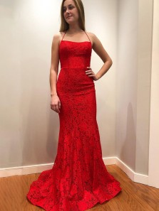 Elegant Mermaid Scoop Neck Spaghetti Straps Cross Back Lace Black Red Prom Dresses, Evening Party Dresses