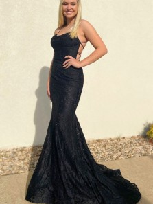 Elegant Mermaid Scoop Neck Spaghetti Straps Cross Back Lace Black Red Prom Dresses, Evening Party Dresses