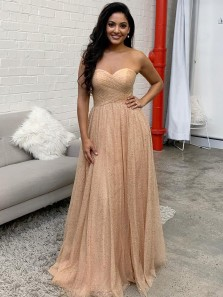 Sparkly A Line Sweetheart Ruffled Gold Glitter Tulle Prom Dresses, Charming Evening Dresses