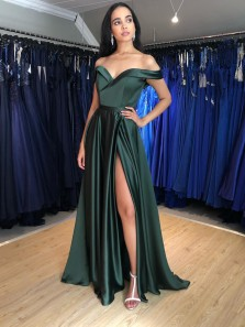 2021 Fashion Discount A Line Off the Shoulder Satin Prom Dresses with Split & Pockets, Formal Evening Party Dresses Under 100