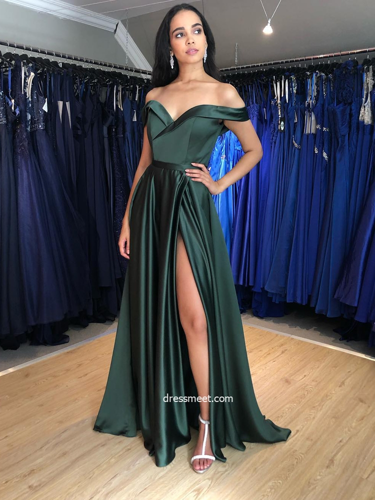 2021 Discount A Line Off the Shoulder Satin Prom Dresses with Split & Pockets, Formal Evening Party Dresses
