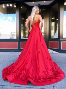 Sweet Ball Gown V Neck Spaghetti Straps Red Satin Long Prom Dresses with Handmade Flowers