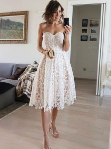 Sweet A Line Sweetheart Lace White Party Dresses, Cocktail Dresses, Wedding Guest Dresses