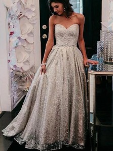 Sparkly Ball Gown Sweetheart Silver Glitter Tulle Prom Gowns, Sweet 16 Dresses with Appliques