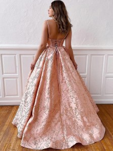 2021 New Fashion Ball Gown V Neck Jacquard Weave Satin Prom Gown With Cross Back