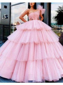 Sweet Ball Gown One Shoulder Pink Tulle Prom Gowns, Sweet 16 Dresses