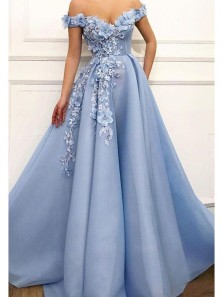 Gorgeous Ball Gown Off the Shoulder Blue Lace Long Prom Dresses with Appliques PD0310004