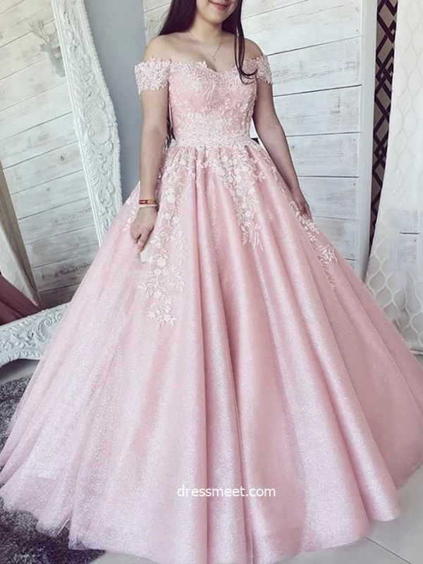 Gorgeous Ball Gown Off the Shoulder Pink Long Prom Dresses with Appliques