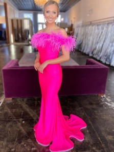 Sexy Mermaid Off the Shoulder Fuchsia Plume Long Evening Party Dresses
