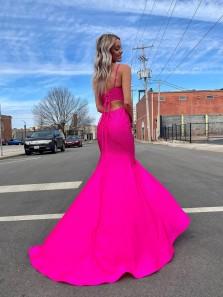Cute Mermaid Scoop Neck Cross Back Fuchsia Satin Long Prom Dresses with Split & Beading