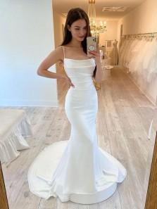 Elegant Mermaid Scoop Neck Spaghetti Straps Elastic Satin Wedding Dresses with Train
