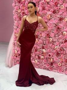 Charming Mermaid V Neck Spaghetti Straps Cross Back Dark Red Satin Prom Dresses with Appliques