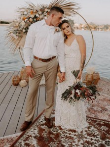 Bohemian Sheath V Neck Straps Lace Beach Wedding Dresses, Beach Bridal Dress