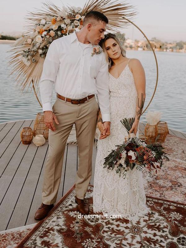 Bohemian Sheath V Neck Straps Lace Wedding Dresses, Beach Bridal Dress