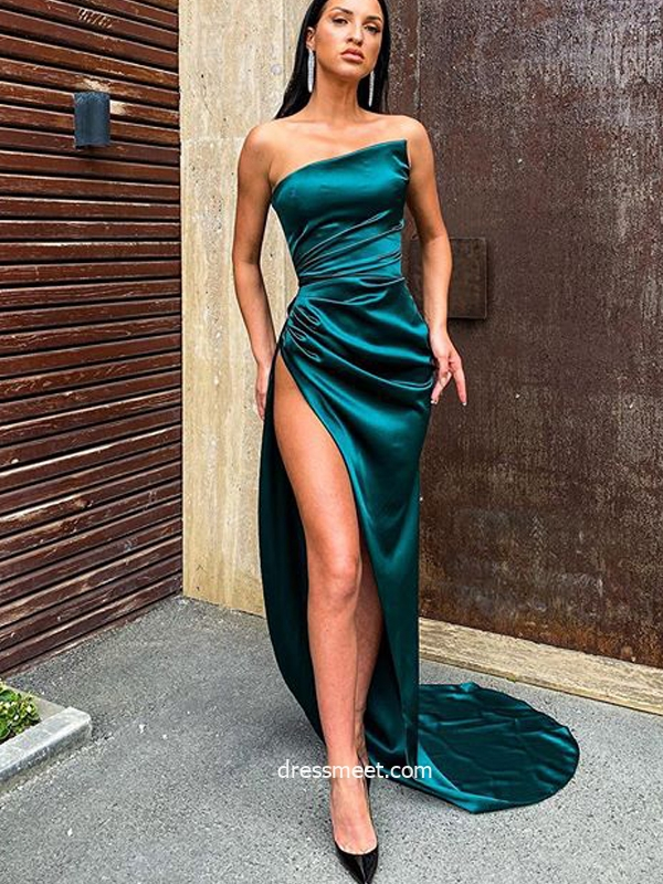 Sexy Mermaid Strapless Dark Green Satin Long Evening Dresses with Split, Party Dresses
