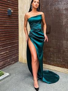 Sexy Mermaid Strapless Dark Green Silk Satin Long Evening Dresses with Split, Party Dresses