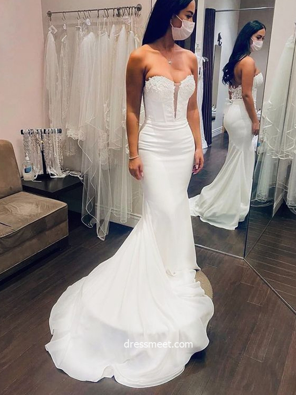 Charming Mermaid Sweetheart Soft Satin Wedding Dresses with Appliques
