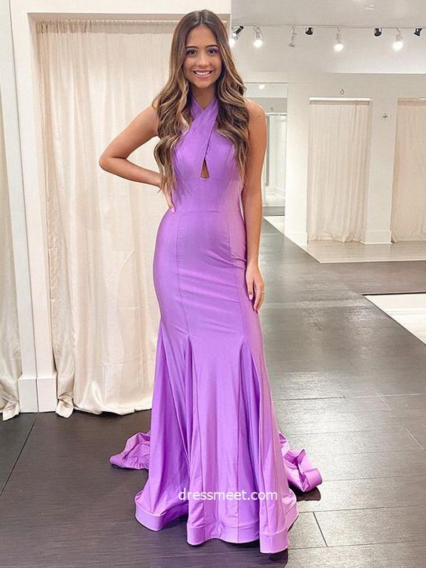 Charming Mermaid Cross Neck Light Purple Satin Long Prom Dresses, Formal Evening Party Dresses