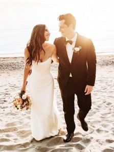 Charming Mermaid Scoop Neck Starps Soft Satin Beach Wedding Dress for 2021, Spring Summer Bridal Dresses
