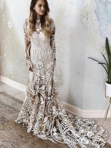 Bohemian Mermaid Round Neck Long Sleeves Lace Wedding Dresses, Beach Wedding Dresses