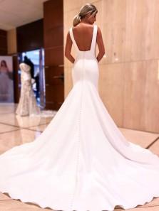 Elegant Mermaid V Neck Open Back White Soft Satin Long Wedding Dresses with Button
