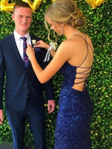 Sparkly Mermaid Scoop Neck Straps Royal Blue Sequins Prom Dress with Split