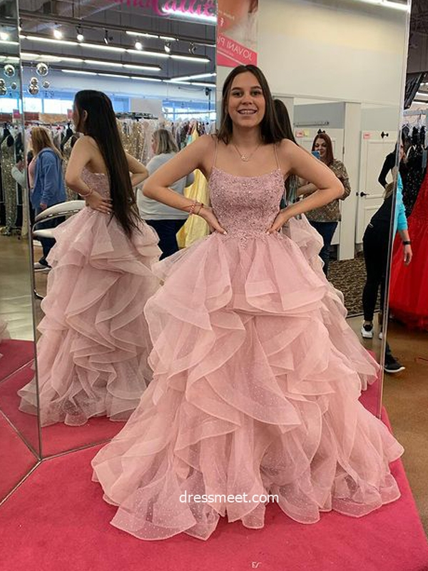 Cute Ball Gown Scoop Neck Straps Blush Pink Dot Tulle Prom Dresses with Appliques