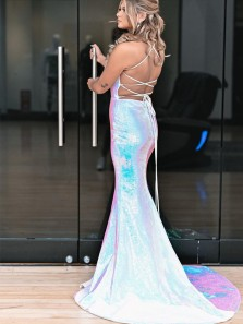 Charming Mermaid Sweetheart White Sequins Prom Dresses with Split